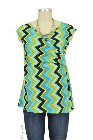 Danica Cap Sleeve Nursing Top (Chevron Green) by Everly Grey