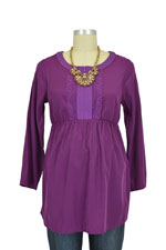 Spring Maternity Tabitha Lace Trim Nursing Blouse (Purple) by Spring Maternity