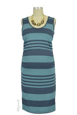 Vanna Striped Nursing Tube Dress (Sage & Steel) by Ripe Maternity