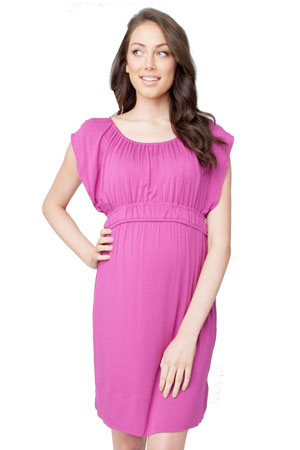 The Louis Nursing Dress (Dark Magenta) by Ripe Maternity