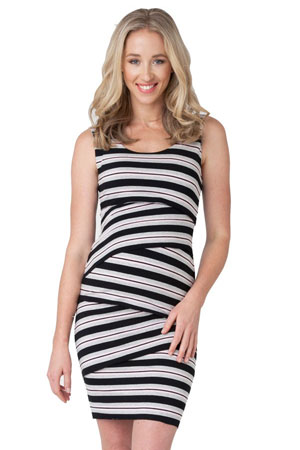 Amanda Crisscross Striped Maternity Dress (Peony Stripe) by Ripe Maternity