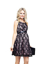 Lacy Skater Maternity Dress (Black with Musk) by Ripe Maternity
