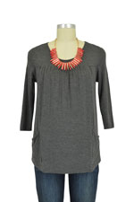 Fiona Nursing Top - 3/4 Sleeve (Charcoal) by Dote