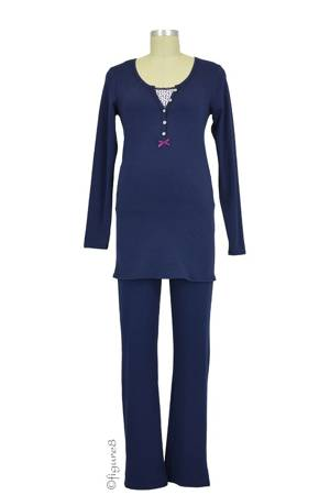 Elise Long Sleeve Nursing PJ Set (Navy) by Noppies