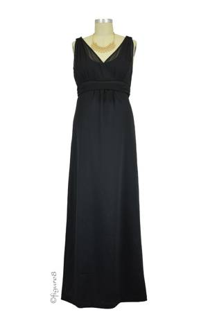 Sophie & Eve Rena Satin & Georgette Special Occasion Nursing Gown (Black) by Sophie & Eve