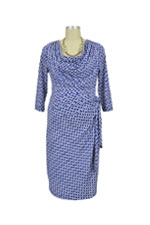 Ezra Long Sleeve Drape Front Nursing Dress (Royal Chain) by Japanese Weekend