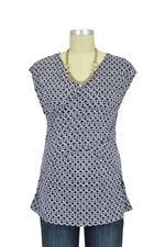 Luxe Jersey Sleeveless Cross Front Nursing Top (Navy Chain) by Japanese Weekend