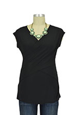 Luxe Jersey Sleeveless Cross Front Nursing Top (Black) by Japanese Weekend