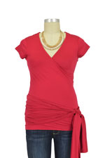 Wendy Short Sleeve Wrap Maternity Top (Red) by JoJo Maman BeBe