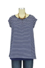 Clara Two-Layer Stripes Nurisng Top (Navy & White Stripes) by JoJo Maman BeBe