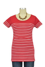 Nautical Short Sleeve Striped Nursing Top (Red Stripes) by JoJo Maman BeBe