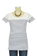 Nautical Short Sleeve Striped Nursing Top (Navy & White Stripes) by JoJo Maman BeBe