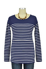 Nautical Long Sleeve Striped Nursing Top (Navy Stripes) by JoJo Maman BeBe