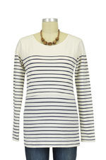 Nautical Long Sleeve Striped Nursing Top (Ecru & Navy Stripes) by JoJo Maman BeBe