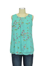 Spring Maternity Cabe Bird Print Nursing Blouse (Mint Print) by Spring Maternity