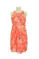 Spring Carmene Bloom Print Nursing Dress (Coral Print) by Spring Maternity