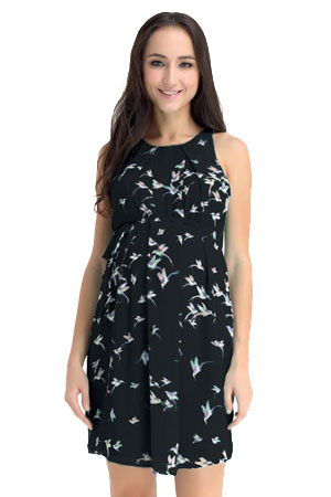 Spring Carmene Bird Print Nursing Dress (Black) by Spring Maternity
