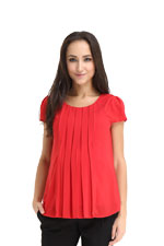 Spring Maternity Chay Box Pleat Nursing Blouse (Red) by Spring Maternity