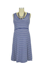 Spring Maternity Patience Skater Nursing Dress (Navy Stripe) by Spring Maternity