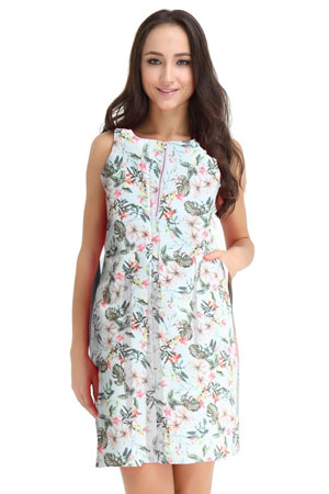 Spring Maternity Ponte Front Zip Nursing Dress (Palm Print) by Spring Maternity