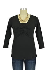 Milky Way Delia 3/4 Sleeve Knot Front Cotton Nursing Top (Black) by Milky Way