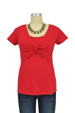 Milky Way Delia Knot Front Cotton Nursing Top (Red) by Milky Way