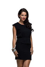 Milky Way Apple Pie Peplum Nursing Dress (Black) by Milky Way