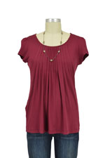 Sophie & Eve Safia Bamboo Pleated Nursing Top (Burgundy) by Sophie & Eve