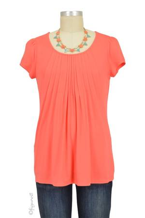 Sophie & Eve Safia Bamboo Pleated Nursing Top (Grapefruit) by Sophie & Eve