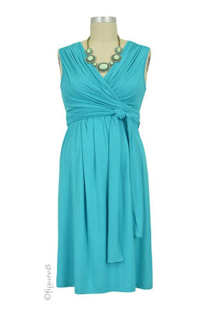Sophie & Eve Charlotte Bamboo Wrap Nursing Dress - Sleeveless (Mediterranean) by Sophie & Eve