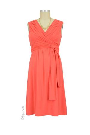 Sophie & Eve Charlotte Bamboo Wrap Nursing Dress - Sleeveless (Grapefruit) by Sophie & Eve