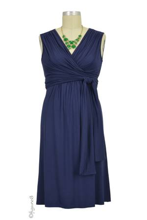 Sophie & Eve Charlotte Bamboo Wrap Nursing Dress - Sleeveless (Washed Navy) by Sophie & Eve