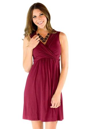 Sophie & Eve Charlotte Bamboo Wrap Nursing Dress - Sleeveless (Burgundy) by Sophie & Eve