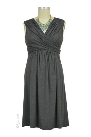 Sophie & Eve Charlotte Bamboo Wrap Nursing Dress - Sleeveless (Dark Heather Grey) by Sophie & Eve
