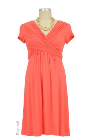 Sophie & Eve Charlotte Short-Sleeve Bamboo Wrap Nursing Dress (Grapefruit) by Sophie & Eve