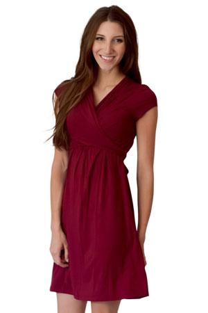 b3135bea3b4 Sophie   Eve Charlotte Short-Sleeve Bamboo Wrap Maternity   Nursing Dress  (Burgundy)