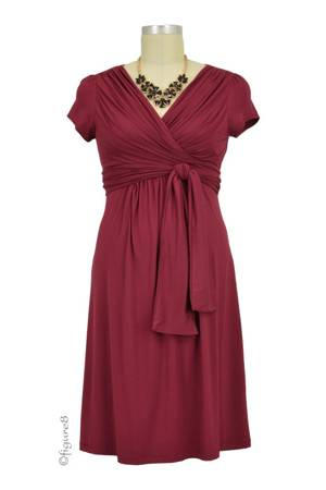 Sophie & Eve Charlotte Short-Sleeve Bamboo Wrap Nursing Dress (Burgundy) by Sophie & Eve