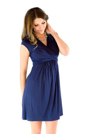Sophie & Eve Charlotte Short-Sleeve Bamboo Wrap Nursing Dress (Washed Navy) by Sophie & Eve