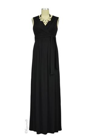Sophie & Eve Charlotte Bamboo Maxi Nursing Dress (Black) by Sophie & Eve