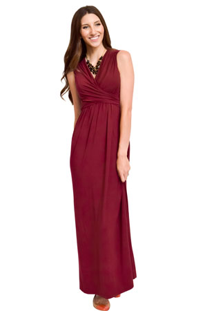 Sophie & Eve Charlotte Bamboo Maxi Maternity & Nursing Dress (Burgundy) by Sophie & Eve