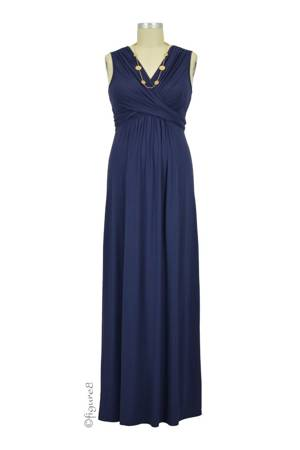 Sophie & Eve Charlotte Bamboo Maxi Nursing Dress (Washed Navy) by Sophie & Eve