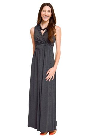 0e42b3226512a Sophie & Eve Charlotte Bamboo Maxi Maternity & Nursing Dress (Dark Heather  Grey) by