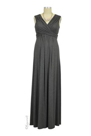 Sophie & Eve Charlotte Bamboo Maxi Nursing Dress (Dark Heather Grey) by Sophie & Eve