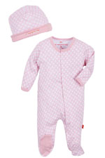 Magnificent Baby Girl's Footie and Reversible Cap Set (Pink Diamonds) by Magnificent Baby