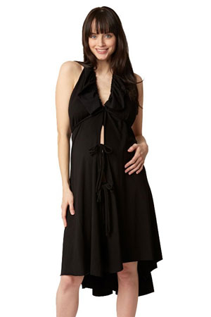 Pretty Pushers Ruffle Cotton Jersey Labor Gown (Black) by Pretty Pushers