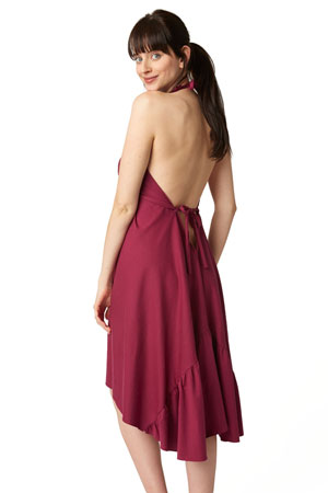 Pretty Pushers Ruffle Cotton Jersey Labor Gown (Wine) by Pretty Pushers