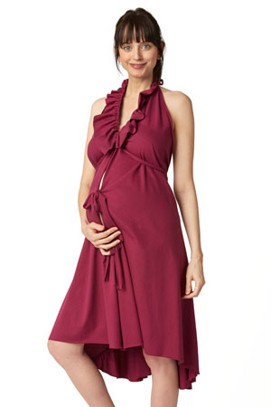 Pretty Pushers Ruffle Cotton Jersey Labor Gown - Plus Size (Wine) by Pretty Pushers