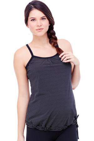 Ingrid & Isabel Active Stripe Drawstring Maternity Tank (Jet Black/White Stripe) by Ingrid & Isabel