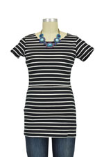 Boob Designs Simone Short Sleeve Organic  Nursing Top (Black & Off-White Stripes) by Boob