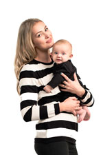 Boob Designs Organic Knitted Nursing Sweater (Black & Off White Stripes) by Boob